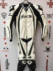 Bks leopard 1 piece Leather race suit with hump uk 42 euro 52