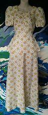 1970s 2-Piece Dress - Top/Skirt Floral Vintage Retro Maxi - White Yellow - 4/6