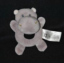 Peluche doudou hippopotame H&M HM gris grelot 14 cm NEUF