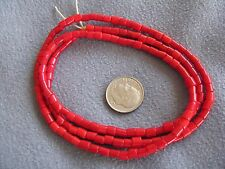 """24"""" Str Antique African Trade Beads Red Glass 5x4mm"""