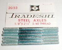 """(6) 2 1/4"""" Axles 1/8"""" Precision Ground 5:40 Thread Slot Car 1960s Tradeship NOS"""