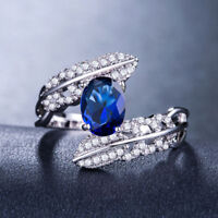 Women Fashion 925 Silver Jewelry Blue Sapphire Wedding Party Ring Size 6-10
