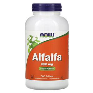 Now Foods Alfalfa 650 mg 500 Tablets GMP Quality Assured, Vegan, Vegetarian