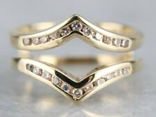Wedding Band 14k Yellow Gold Gp Ring Channel Set 0.45 Ct Round Diamond Enhancer