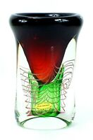 Vintage Signed ADAM JABLONSKI Hand Blown ART GLASS Poland CRYSTAL Large VASE
