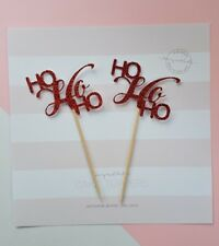 12 x Ho Ho Ho cupcake toppers, red glitter card, festive, nordic, Christmas