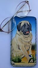 ENGLISH MASTIFF DOG GLASSES CASE POUCH  SANDRA COEN ARTIST WATERCOLOUR  PRINT