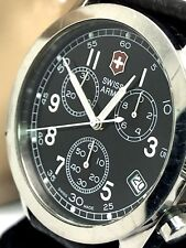 Victorinox Swiss Army Chronograph Men's Watch Black Dial Leather Band 24071