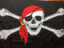 """Vtg 90s Pirate Skull Crossbones Flag Halloween Party Decor Black Huge 61""""x34"""""""