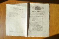 ANTICO DOCUMENTO MANIFESTO NOTA SECONDA TESORERIA GENERALE DI S. M. TORINO 1799