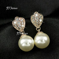 18k gold gf made with swarovski crystal dang'le earrings wedding party pearl stu