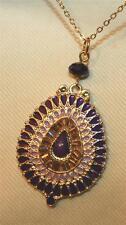 Lovely Violet & Purple Swirl Enameled Beaded Goldtone Teardrop Pendant Necklace