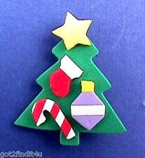 BUY1&GET1@50%~Hallmark PIN Christmas TREE Ornaments FOAM Vtg Holiday Brooch