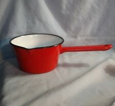 Vintage Red and White Enamelware Sauce Pan with Pour Spout - Made in Romania