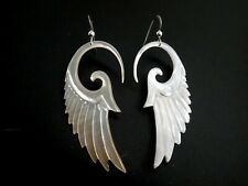 Bird Angel Wing Natural Mother Of Pearl Double Sided Sterling Silver Earrings
