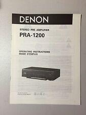 DENON PRA-1200 PREAMPLIFIER Owner's Manual Original - NOS