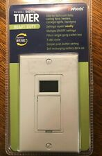 Woods 15 Amp 7 Day In Wall Programmable Digital Timer Switch White Heavy Duty