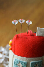 40 pcs Clear Diamond Head Sewing Pins 54mm Florist Pins Buttonhole Wedding VAT