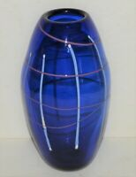 Vintage Dark Blue Hand Blown Vase Hand Painted Stripes Signed by Artist 9""
