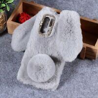 Rabbit Shape Fluffy Fur Coated Rhinestone TPU Case Cover for Huawei P30 Pro