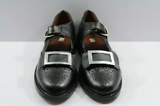 Piper & Drummer Ghillie Brogues Bow Tie Buckle Shoes Black Leather.