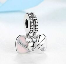 Genuine 925 Silver Mother & Daughter Pink Hearts Pendant Charm set of 2