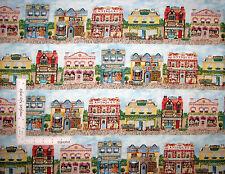 Old Town Shops Stores Border Stripe Cotton Fabric 3612 Elizabeth's Studio - Yard