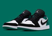 Nike Air Jordan Retro 1 Low Mystic Green White Black Men's 553558-113 Sz 7.5-13