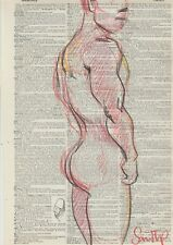 Male Nude Study- China Marker-  Fine Art Drawing- Direct from & Signed by Artist