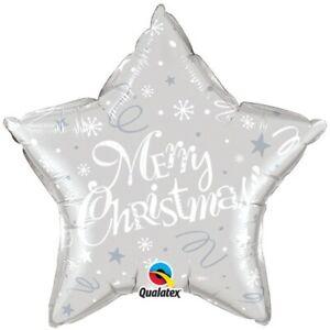 Merry Christmas Silver 20 Inch Foil Qualatex Balloon
