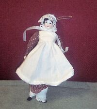 "Vintage  ANTIQUE 8"" CHINA SHOULDER HEAD DOLL W/BODY & CLOTHES OLD"