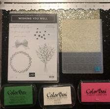 STAMPIN UP WISHING YOU WELL CRAFT STAMPS LOT RED RUBBER CLING SET EMBOSSING INK