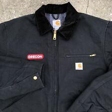 Vintage Carhartt Detroit Jacket Men's Large Black Work Blanket Lined Made in USA