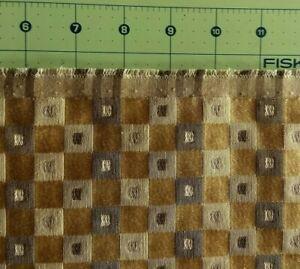 UPHOLSTERY JACQUARD Gold Green Beige Geometric Design Reversible 2+Yds.