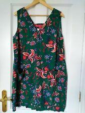 Next Green & Flower Tunic Top Shift Dress With Pockets Linen Sz 18 linen viscose