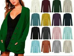 Womens Long Sleeve Chunky Cable Knit Button Cardigan Top Grandad Plus Size 8-22