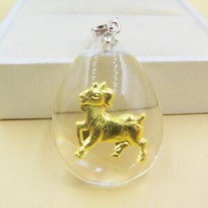 24K 999 Yellow Gold Pendant Women Men Man-made Crystal Sheep Pendant 30*20mm