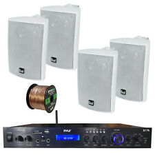 Home Amplified Bluetooth MP3 Receiver, 4x Indoor White Speakers, 16-G 50 Ft Wire