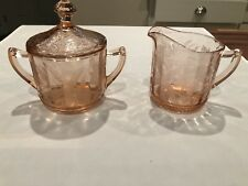 Antique Poinsettia Vintage Pink Depression Glass Creamer & Sugar with Lid MINT