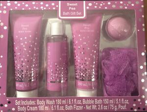 SWEET PEA GIFT SET - Body Wash, Bubble Bath, Body Cream, Bath Fizzer, Pouf NIB