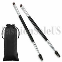 2PCS Eyebrow Angled Eye Brow Brush and Spoolie Brush Double End Makeup Tools New