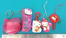 Vintage Sanrio Hello Kitty 5 Keychain Mini Trinket Toys Plastic Cases Lot 1990s