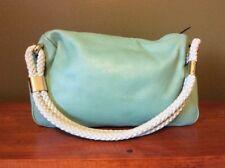 Kate Spade Mint Green Leather Small Shoulder Bag Woven Handle Handbag Purse