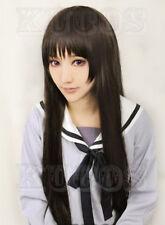 "Hot! Noragami Iki Hiyori 32""/80cm long straight dark brown cosplay wig R/S*4"