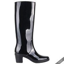 Womens Mid High Heeled Waterproof Tall Wellington Rain Boots Wellies Festival