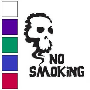 No Smoking Skull Decal Sticker Choose Color + Size #933