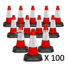 Pack of 6 Road Traffic Cones 18 (500mm) Self Weighted Safety 100 Reinforced PV