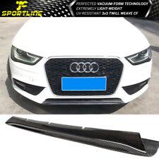 Fits 13-16 Audi A4 B8 Sedan OE Style Carbon Fiber Front Bumper Trims Center Lip