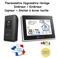 Station Météo intérieur extérieur écran tactile Thermomètre Hygromètre Horloge