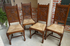 SET of 4 Antique French Carved Tiger Oak GOTHIC Dining Chairs Rush Seat Revival